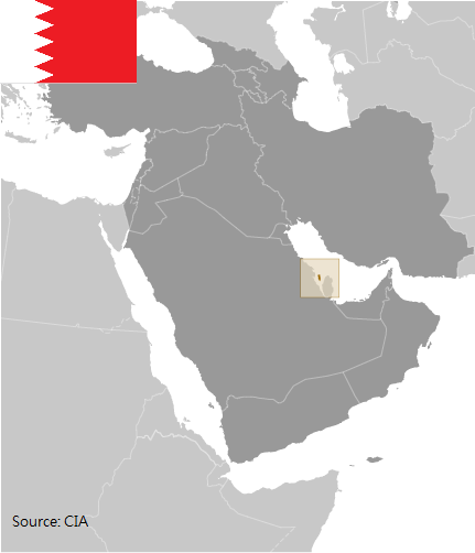 Flag and map of Bahrain