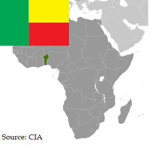Flag and map of Benin