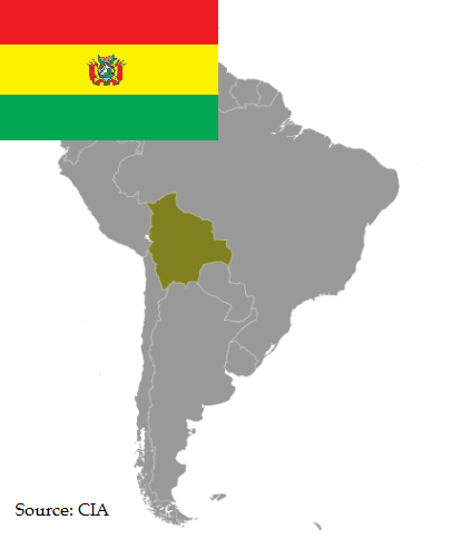 Flag and map of Bolivia