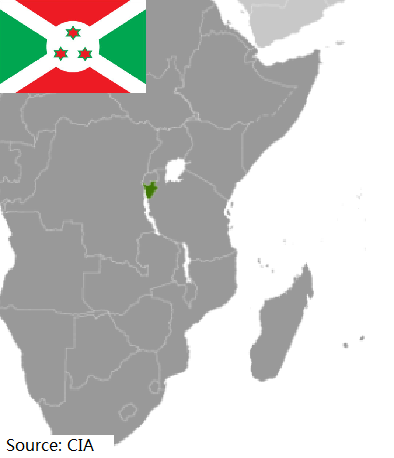 Flag and map of Burundi