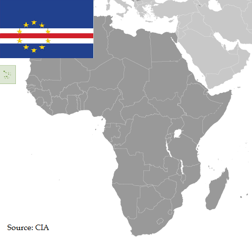 Flag and map of Cabo Verde
