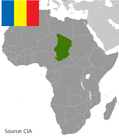 Flag and map of Chad
