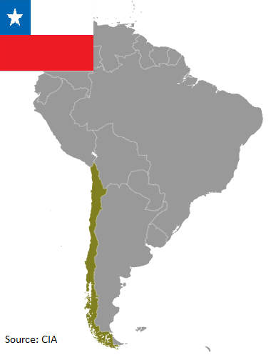 Flag and map of Chile