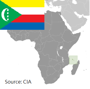 Flag and map of Comoros