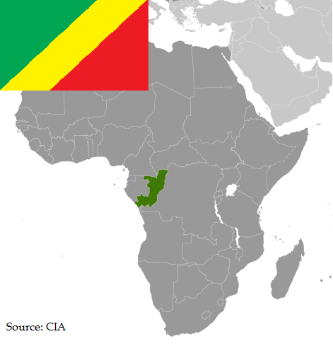 Flag and map of Congo