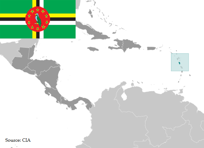 Flag and map of Dominica