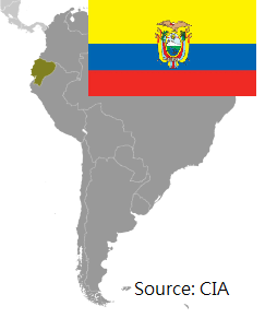 Flag and map of Ecuador