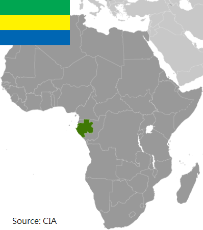 Flag and map of Gabon