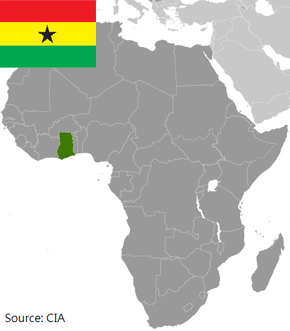Flag and map of Ghana