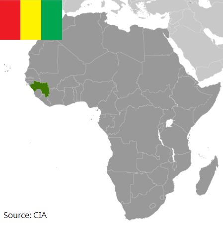 Flag and map of Guinea