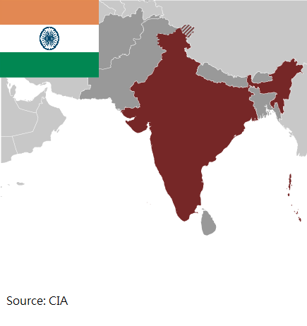 Flag and map of India