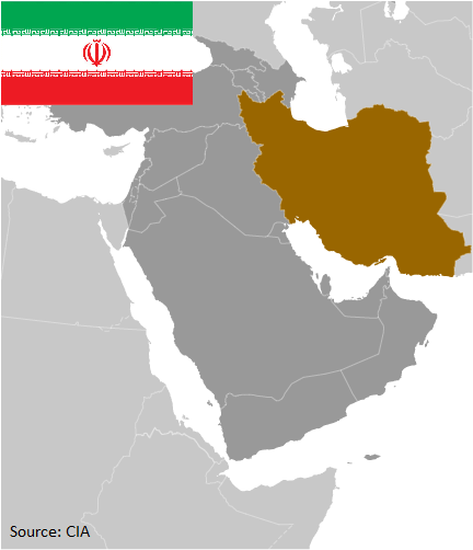 Flag and map of Iran