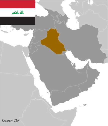 Flag and map of Iraq