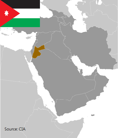 Flag and map of Jordan