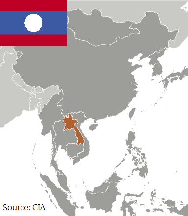 Flag and map of Laos