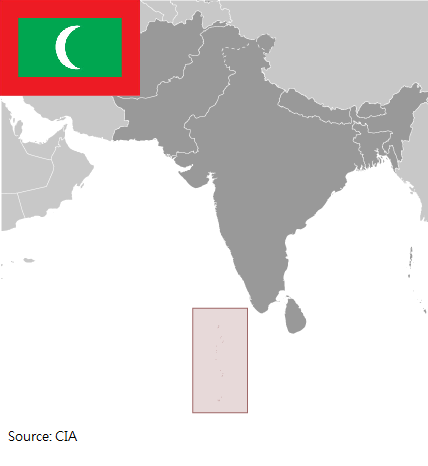 Flag and map of Maldives