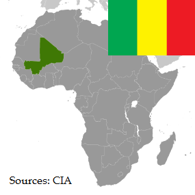 Flag and map of Mali