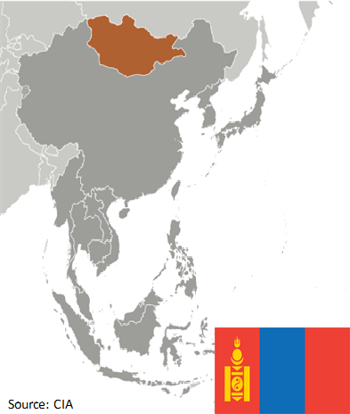 Flag and map of Mongolia