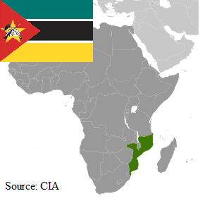 Flag and map of Mozambique