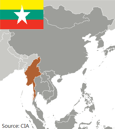 Flag and map of Myanmar