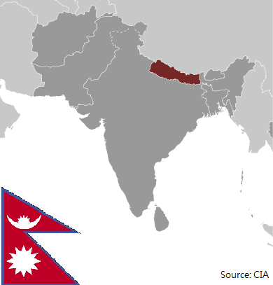 Flag and map of Nepal