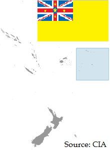 Flag and map of Niue