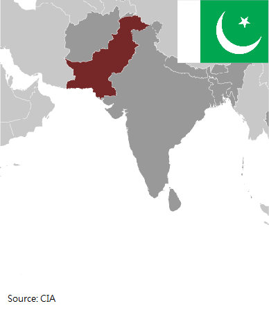 Flag and map of Pakistan