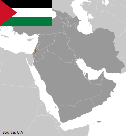 Flag and map of Palestine