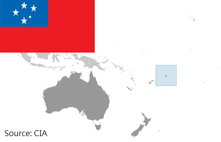 Flag and map of Samoa