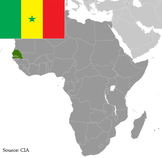 Flag and map of Senegal