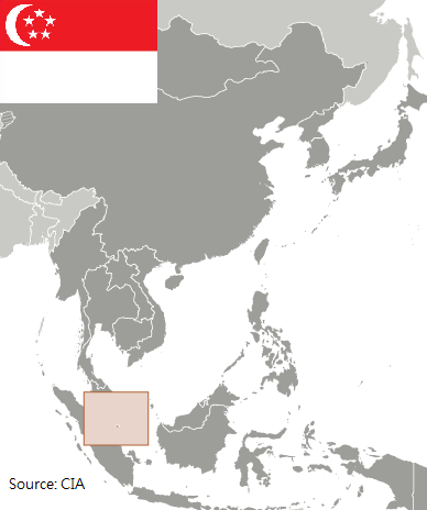 Flag and map of Singapore