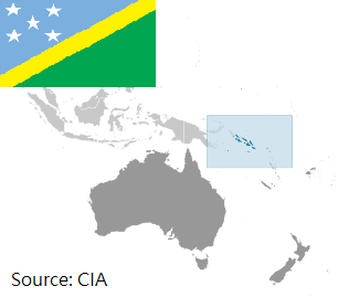 Flag and map of Solomon Islands