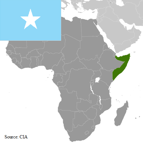 Flag and map of Somalia