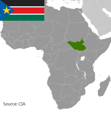 Flag and map of South Sudan