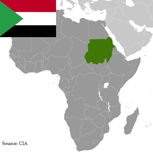 Flag and map of Sudan