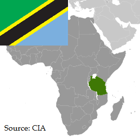 Flag and map of Tanzanian