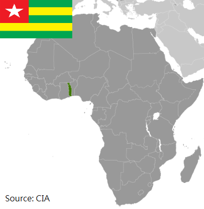 Flag and map of Togo