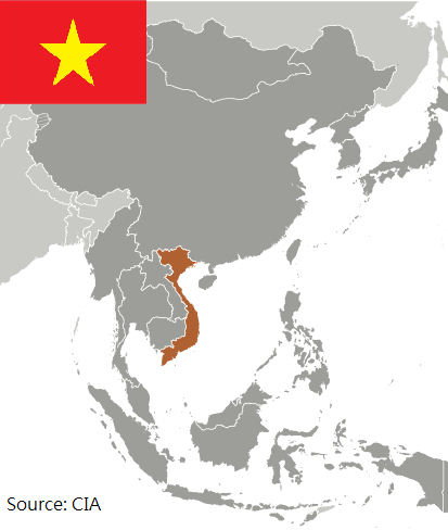 Flag and map of Vietnam