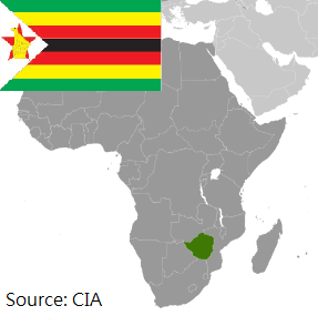 Flag and map of Zimbabwe